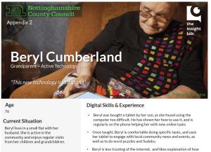 Sample persona - Beryl Cumberland